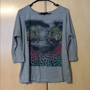 Top with Rainbow Leopard graphic